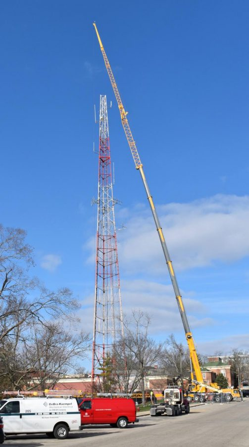 In early December a crane goes up alongside the tower and first removed the 54-foot antenna formerly used by WPTO TV.