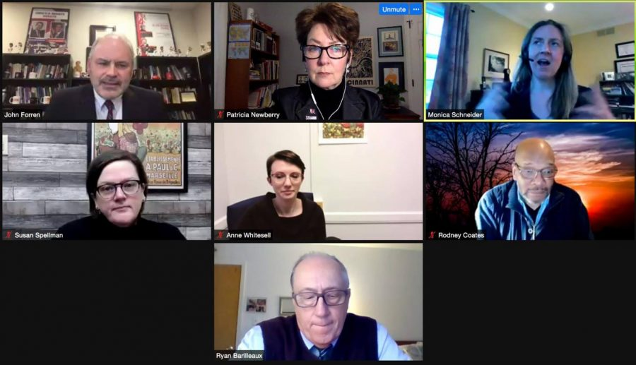 """A panel of Miami University experts from several fields participate in a virtual town hall meeting Wednesday, """"Democracy Under Pressure: A Town Hall Discussion of Recent Events."""" Top row, left to right: John Forren, moderator and director of the Menard Family Center for Democracy; Patricia Newberry, journalism; Monica Schneider, political science. Middle row left to right: Susan Spellman, history; Ann Whitesell, political science; Rodney Coates, global and international studies. Bottom center: Ryan Barilleaux, political science."""