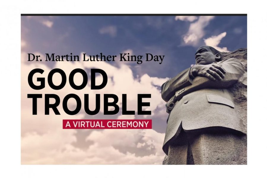 "The opening shot of the ""Good Trouble"" video hosted by the Oxford NAACP chapter in celebration of Martin Luther King Jr. Day Jan. 18."