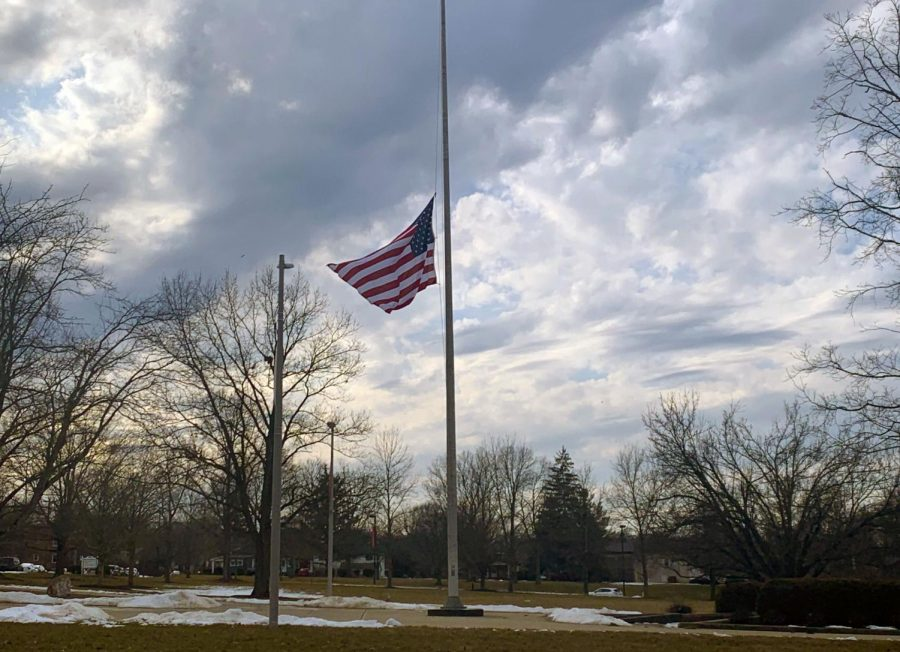 The flag outside Miami's Yager Stadium, along with all other American flags, is at half-staff in honor of the 500,000 Americans who have died of COVID-19.