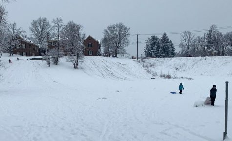 Sled riders wear ruts into the hill at Peffer Park on Tuesday afternoon, as the overcast sky promised more snow to come.