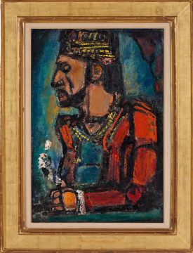 """The Old King"" shows the influence of Rouault's training in stained glass on his paintings, with thick black lines between blotches of bright color."