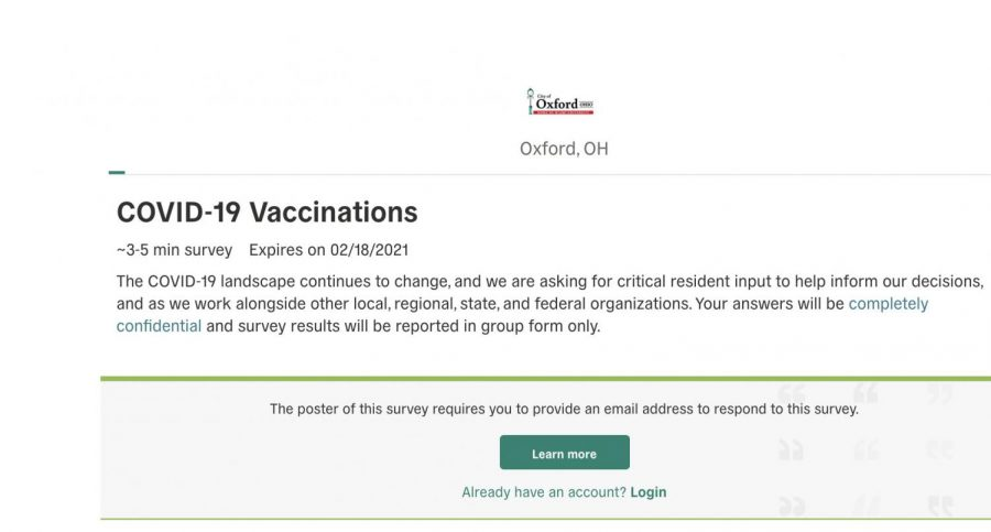 A screenshot of the first page of the COVID-19 vaccination survey that is posted on the city of Oxford's website.