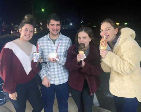 Housemates Rachel Milenius, Ryan McLain, Madison Theodore and Emma Bach this week on one of their regular forays to Spring Street Treats.