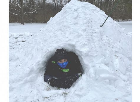 Oxford resident Isaac Coffin peeks out the door of the quinzee Canadian snow shelter, built by the staff of Miami's Outdoor Pursuit Center, Wednesday afternoon in Peffer Park. The event was part of Miami's Wellness Day program.