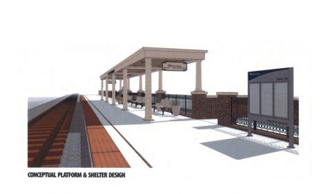 An artist's rendition from 2019 about what an Amtrak platform on Chestnut Street in Oxford might look like.