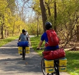 Outdoor Center teaches how to backpack on a bicycle