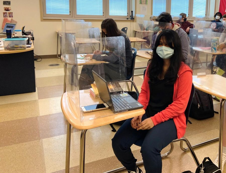 Students in this Talawanda High School AP World History class are all masked and shielded against the spread of COVID-19. They are all just normal parts of school life these days.