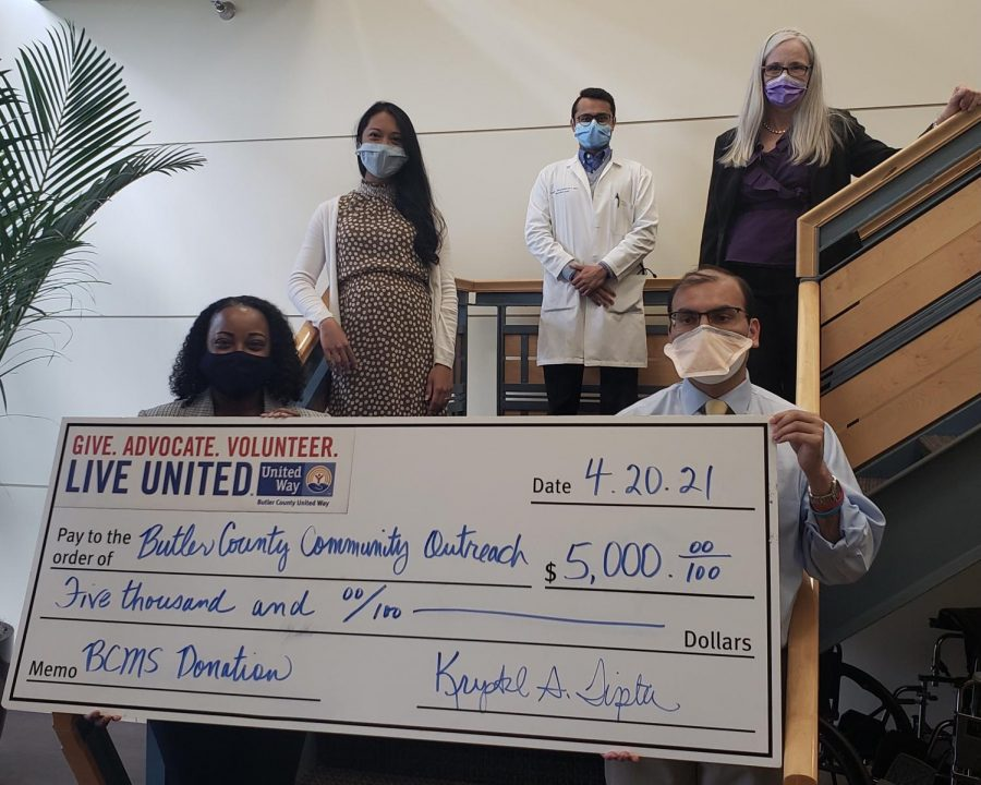 From left to right (clockwise):  Krystal Tipton, Butler County United Way President and CEO; Dr. Maricor Docena, Community Outreach Program Committee Co-chair; Dr. Samir Brahmbhatt; Dr. Alisa McGill; and Dr. Anu Mital, Butler County Medical Society President. During the check presentation on April 20, at Bethesda Butler Hospital.