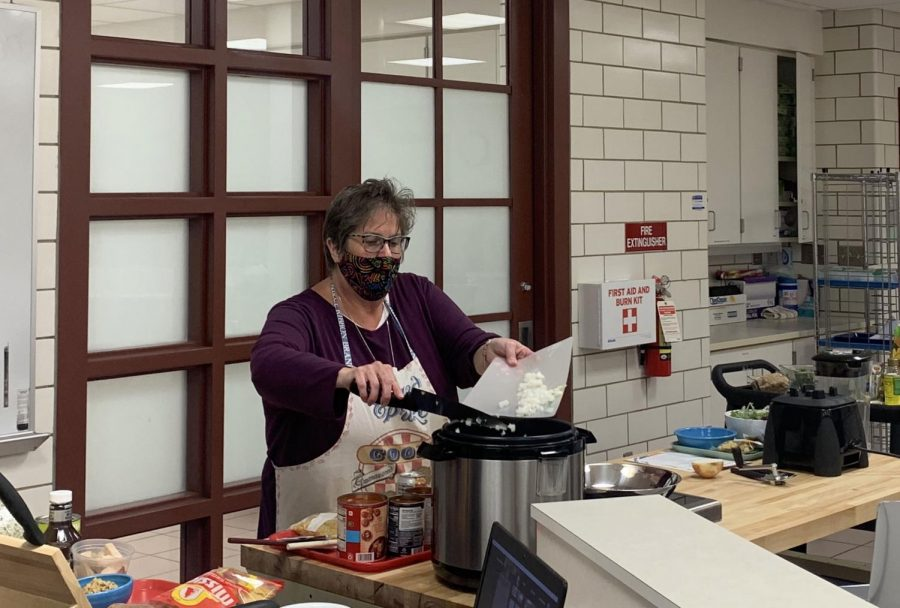 """Nancy Parkinson, aka """"Nancy the Nutrition Nut, is a Miami associate clinical professor and registered dietician. From her classroom kitchen, she goes online to teach members of the community how to prepare nutritious meals from ingredients they may pick up at local food pantries."""