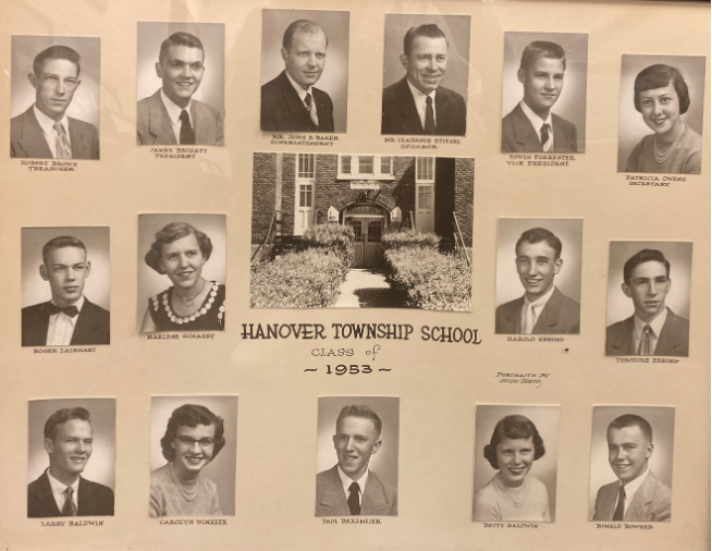 The senior class of 1953 from the old Hanover Township School.