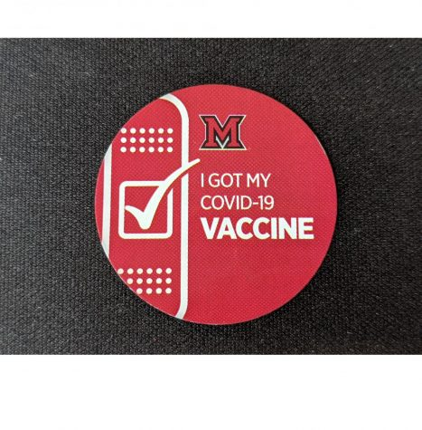 Miami sticker received after getting COVID-19 vaccine at Miami's Shriver Center.