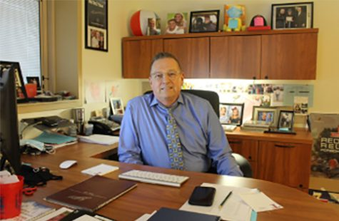 Tom York leads Talawanda High School from behind the principal's desk for the past nine years.