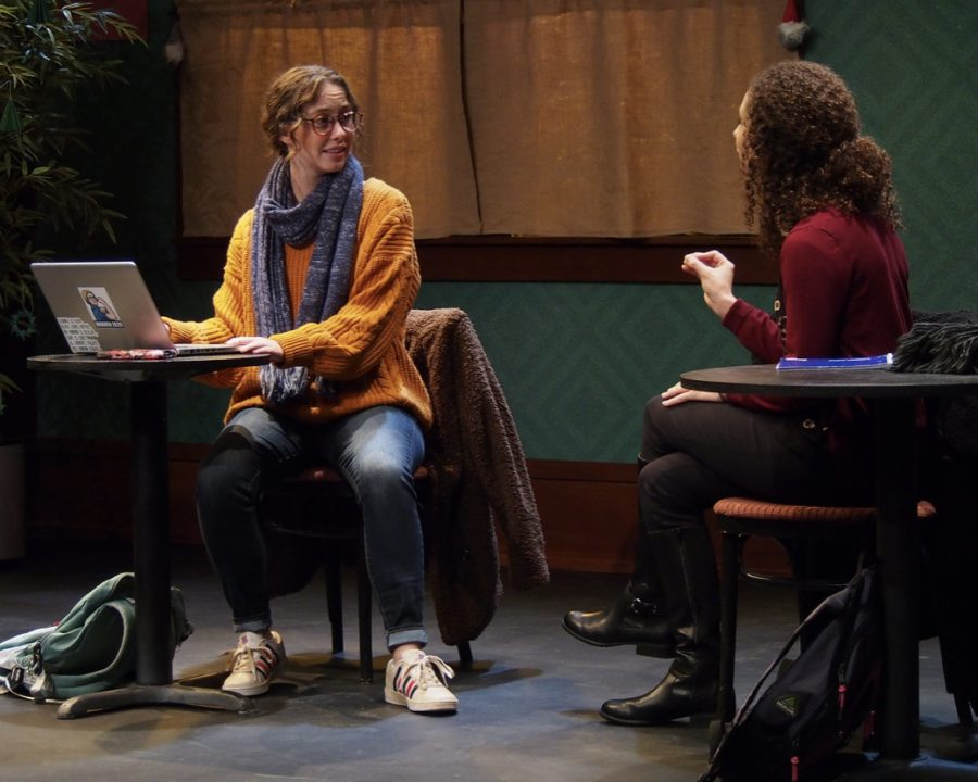 "Arts management student Jamie Chmielewski, left, performs in Miami University's production of ""When We Get Good Again"" in 2019."