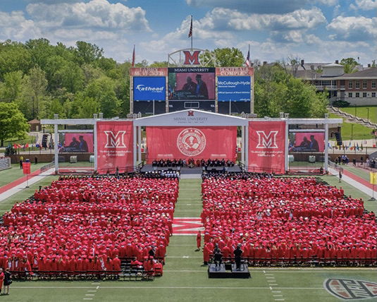 Miami will have eight in-person commencement ceremonies at Yager Stadium this weekend.