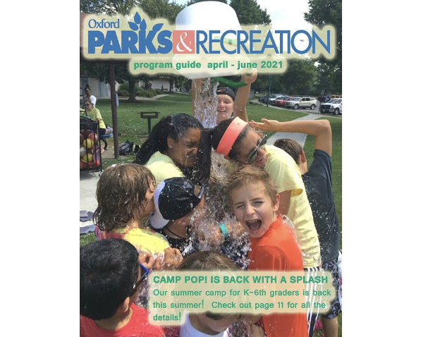 Camp Pop is on the cover of the latest edition of the Oxford Parks & Recreation summer activity guide.