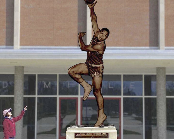 An artist's rendering of the Wayne Embry statue that will be placed in front of Millett Hall.