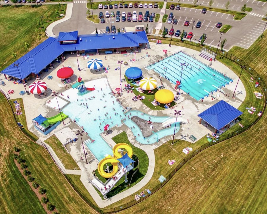 An aerial shot shows off the Oxford Aquatic Center in Oxford Community Park, now scheduled to open on Memorial Day.