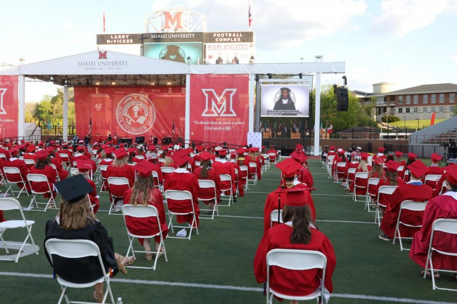 Miami+will+have+eight+in-person+commencement+ceremonies+at+Yager+Stadium+this+weekend.+The+first+ceremony+to+honor+2020+graduates+was+held+Thursday+night.+
