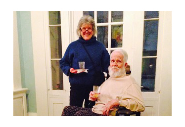 Debra Bowles (left) and Crossan Curry at his art show at the Oxford Community Arts Center in 2014.