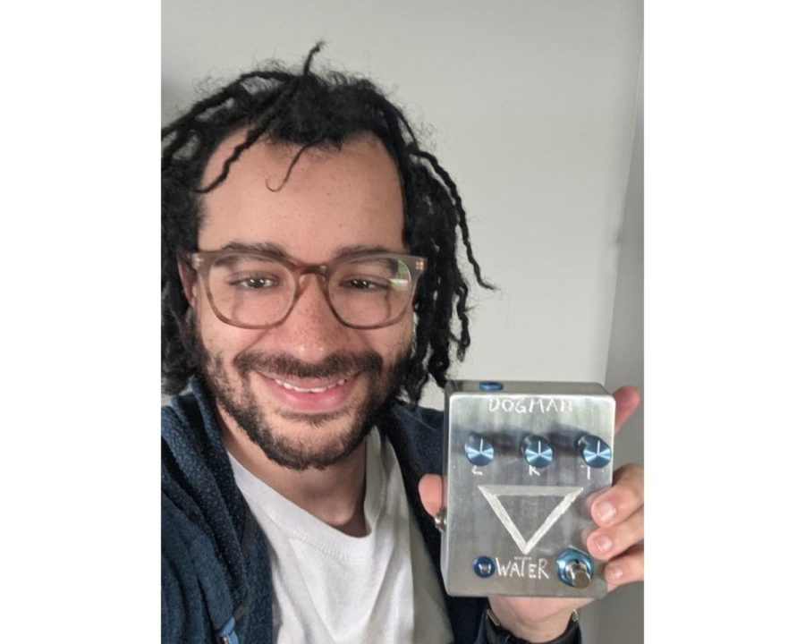 Oxford entrepreneur Lance Giles shows off one of his hand-crafted electric guitar pedals that he sells through his online company, Dogman Devices.