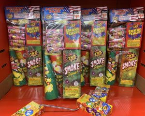 Displays like this can be found in many local stores, offering the types of fireworks that you can legally set off by yourself in Ohio. For bigger bangs, try one of the public displays offered.