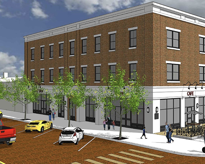 An artist's rendering of what the Caroline Harrison Building at the corner of High Street and College Avenue will look like.