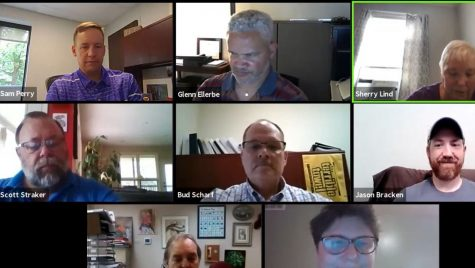 Oxford Community Development Director Sam Perry (upper left) proposed a new type of housing authority for the city at the June 21 online meeting of the city's Housing Advisory Commission. Screenshot from the virtual meeting.