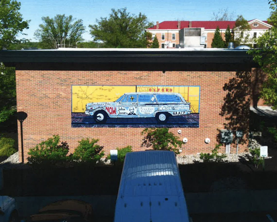The mural as it appeared when installed in its original location on the exterior wall of the Rittgers & Rittgers Law Firm, on High Street, in 2019.