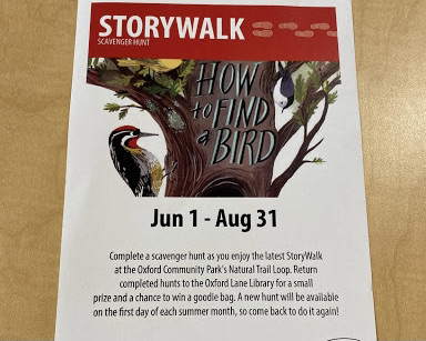 Successfully completing the Oxford Lane Library's StoryWalk scavenger hunt can earn children prizes.