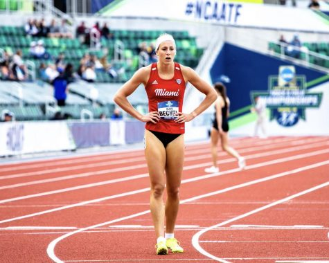 Miami RedHawk Olivia Bechtel, seen here at the NCAA Championships last week, is trying out for the U.S. Olympic Team