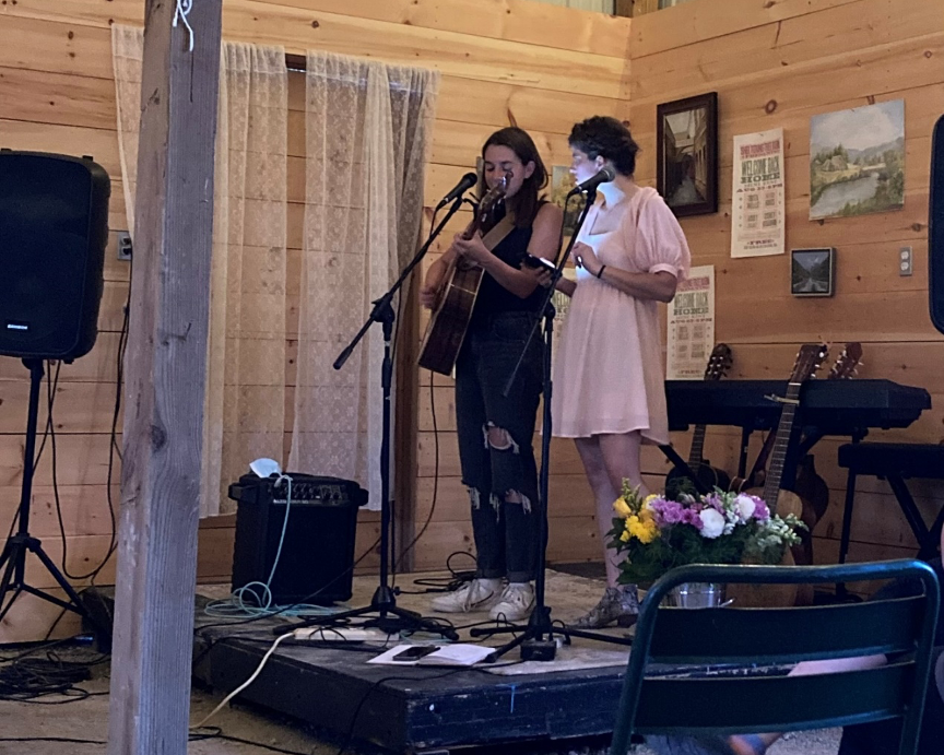 Musicians with a desire to perform can find a venue at Sheltering Tree Barn. Here, Abby Holliday (left) and Emily Hines, perform  Aug. 23.