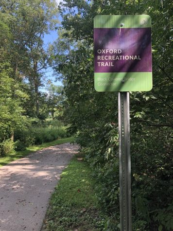 A completed part of the Oxford Area Trail System. The city has completed the sections between the Black Covered Bridge and Peffer Park.  The final phase on the northwest quadron of the city is now on hold.