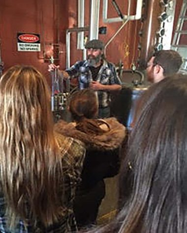 """Crowder and his students studied the complexities of making bourbon during a four-day distiller's workshop at """"Moonshine University,"""" in Louisville, Kentucky."""