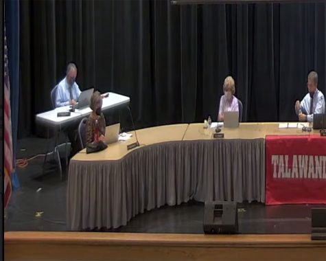 At the Sept. 20 school board meeting, Talawanda Schools Supt. Ed Theroux (left) tells the board that local students have committed vandalism as part of the Devious Licks game on TikTok. Photo from a video screenshot of the meeting