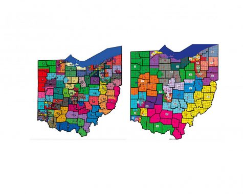 Maps of the Ohio House (left) and Ohio Senate (right) districts passed  Sept. 16 by the Ohio Redistricting Commission.