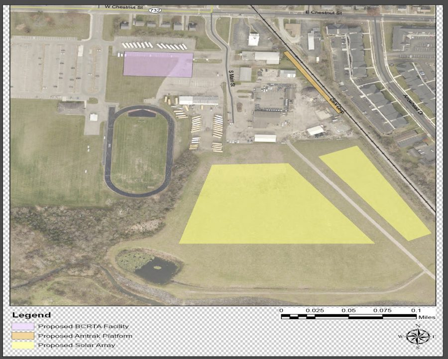 This aerial view shows the planned solar array (marked in yellow) adjacent to the Chestnut Fields project, which is expected to include a Butler County bus facility (marked in pink) and an Amtrak platform (marked in orange).