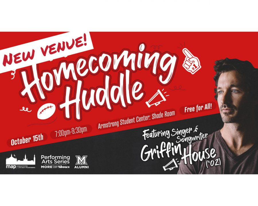 Singer/Songwriter and Miami alum Griffin House returns to Miami for a Friday night concert at Armstrong Student Center.