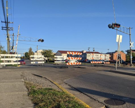 The railroad crossing at West Spring Street is closed to motor vehicles through Oct. 27, while maintenance is done on the tracks.