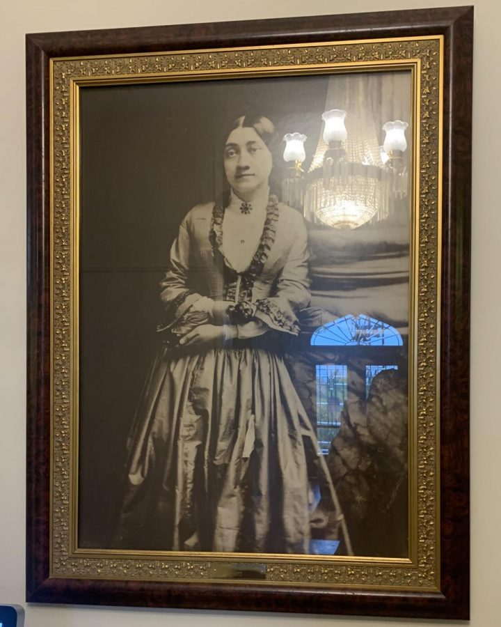Helen Peabody, a stern critic of coeducation, reflecting the light of modern times in this portrait that hangs in the dormitory that bears her name.
