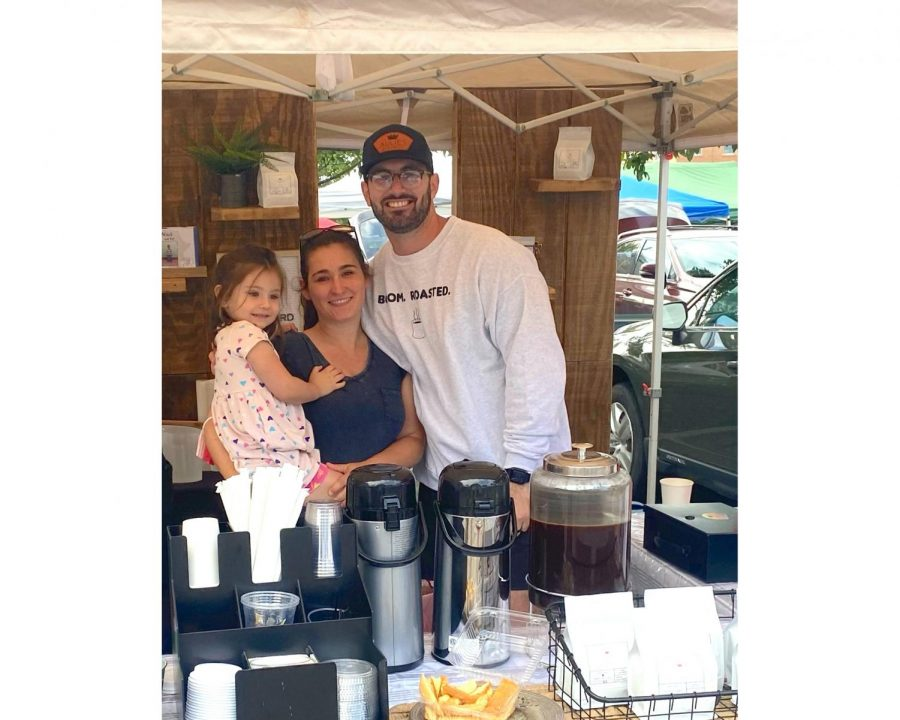 Alex and Madalyn Ketron, with daughter Lena, sell their Aulie's Coffee at the Oxford Farmers Market every Saturday.
